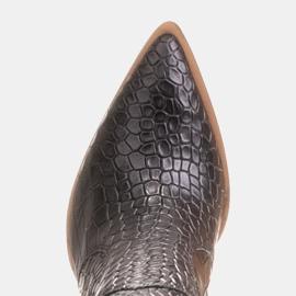 Marco Shoes Bottes hautes pour femmes santiags, motif croco noir 7