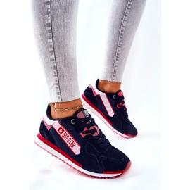 Chaussures de sport en cuir Big Star II274270 Bleu marine blanche rouge 3