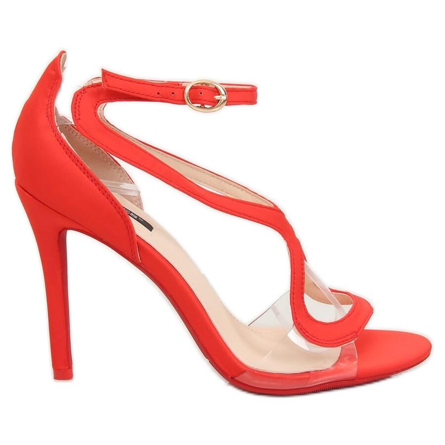 Détails sur Sandales sur une épingle rouge 1442 rouge