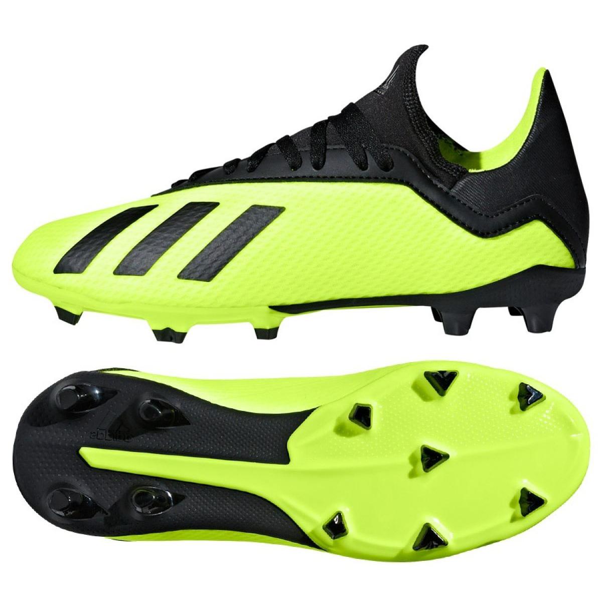 Détails sur Chaussures de foot adidas X 18.3 Fg Jr DB2418 jaune vert
