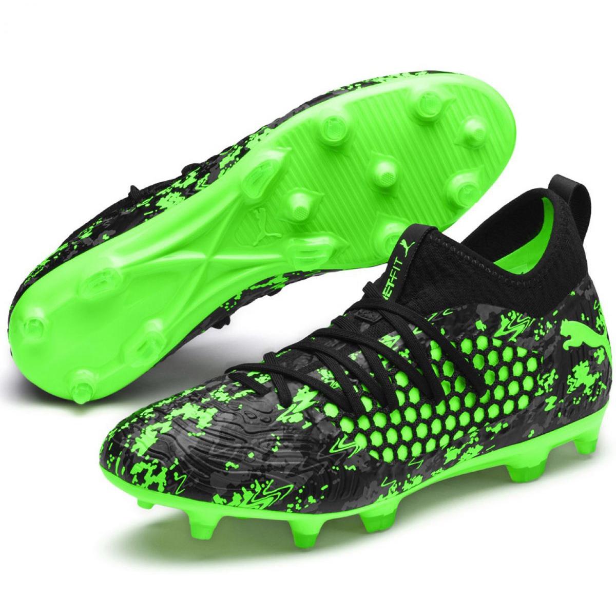 Détails sur Chaussures de football Puma Future 19.3 Netfit Fg Ag M 105539 04 noir, vert noir