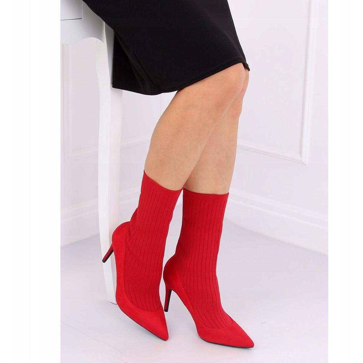 Détails sur Bottes rouges avec une chaussette supérieure T5033 rouge